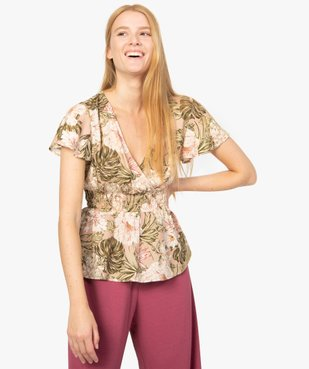 Blouse femme manches courtes à taille smockée vue1 - GEMO(FEMME PAP) - GEMO