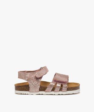 Sandales bébé fille à scratch et brides en cuir métallisées vue1 - GEMO(BEBE DEBT) - GEMO