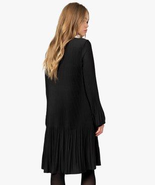Robe femme en maille plissée unie vue3 - GEMO(FEMME PAP) - GEMO