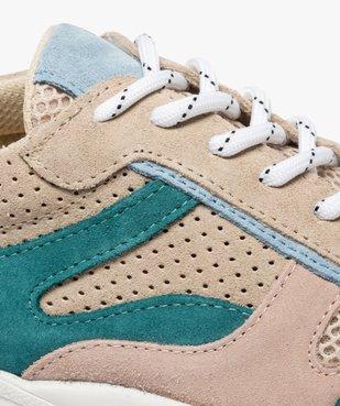 Baskets femme colorées multimatières à lacets vue6 - GEMO (SPORTSWR) - GEMO