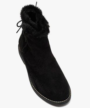 Boots fourrées femme à talon plat et suédine unie vue5 - GEMO (CASUAL) - GEMO
