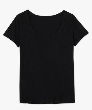 Tee-shirt femme uni à col rond 100% coton biologique vue4 - GEMO C4G FEMME - GEMO