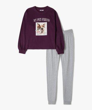 Pyjama fille bicolore avec photo de chien vue1 - GEMO (JUNIOR) - GEMO