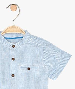 Chemise bébé garçon rayée à col mao en lin et coton vue2 - GEMO(BEBE DEBT) - GEMO