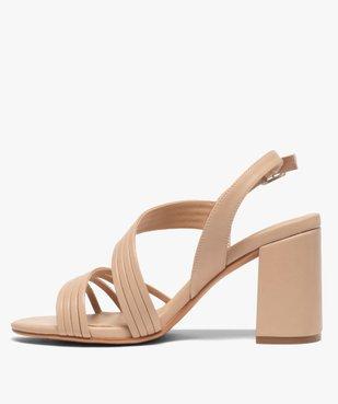 Sandales femme unies à talon et fines brides vue3 - GEMO(URBAIN) - GEMO