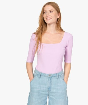 Tee-shirt femme à manches courtes en maille côtelée vue1 - Nikesneakers(FEMME PAP) - Nikesneakers