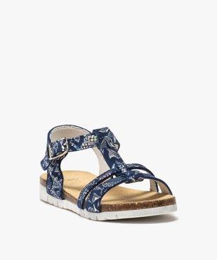 Sandales fille en cuir à détails métallisés fermeture boucle vue2 - GEMO (ENFANT) - GEMO