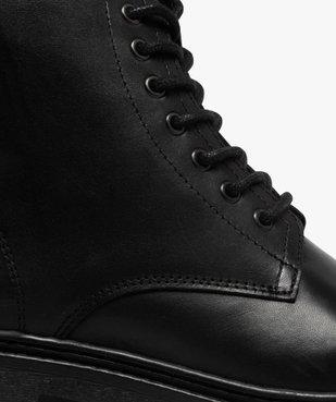 Boots homme dessus cuir uni et semelle crantée vue6 - GEMO(URBAIN) - GEMO