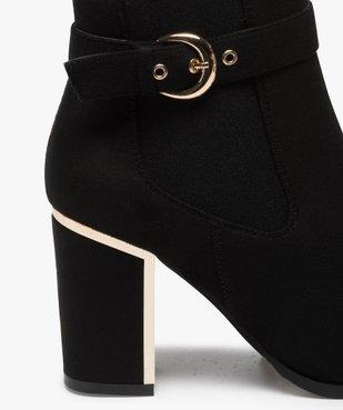 Boots femme à talon unis en suédine détails métallisés vue6 - GEMO(URBAIN) - GEMO