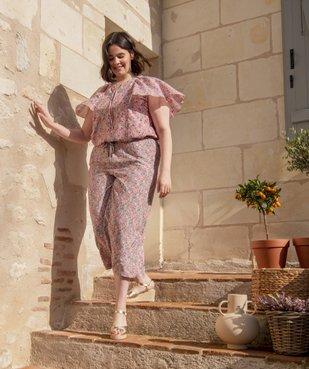 Blouse femme imprimée avec volants sur les épaules vue6 - GEMO (G TAILLE) - GEMO
