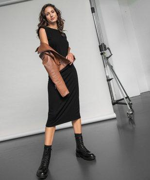 Robe femme en maille côtelée avec épaulettes vue6 - GEMO(FEMME PAP) - GEMO