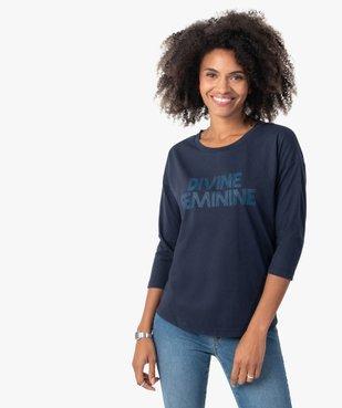 Tee-shirt femme à manches ¾ avec message vue1 - GEMO(FEMME PAP) - GEMO