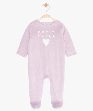 Pyjama bébé fille en velours à pont-dos pressionné vue1 - GEMO(BB COUCHE) - GEMO