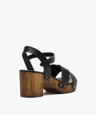 Sandales femme unies à talon imitation bois vue4 - GEMO(URBAIN) - GEMO