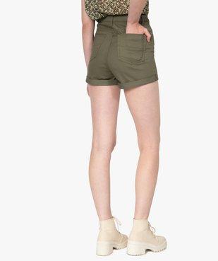 Short femme ajusté et taille haute avec revers cousus vue3 - GEMO(FEMME PAP) - GEMO