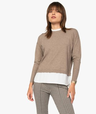 Pull femme effet 2 en 1 avec col chemise froncé vue2 - GEMO(FEMME PAP) - GEMO