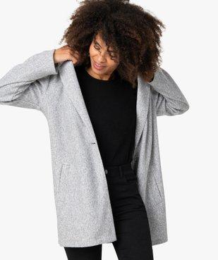 Manteau court femme en matière extensible chinée vue1 - GEMO(FEMME PAP) - GEMO