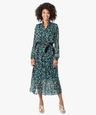 Robe femme longue en voile imprimé et grosse ceinture vue1 - GEMO(FEMME PAP) - GEMO
