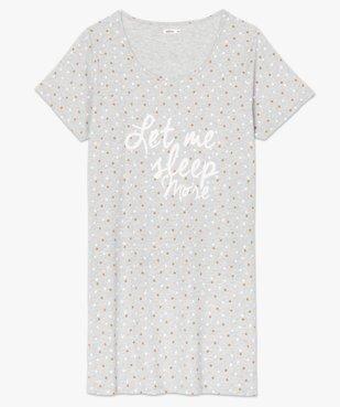 Chemise de nuit femme à manches courtes avec motif vue4 - GEMO(HOMWR FEM) - GEMO