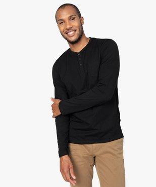 Tee-shirt homme à manches longues et col tunisien vue1 - GEMO (HOMME) - GEMO