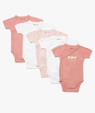 Body bébé fille à manches courtes fermeture croisée (lot de 5) vue1 - GEMO C4G BEBE - GEMO