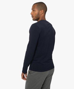 Tee-shirt homme à manches longues et col rond coupe slim vue3 - GEMO (HOMME) - GEMO