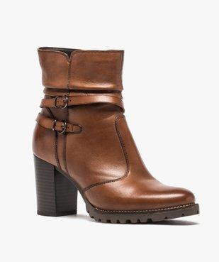 Boots femme à talon dessus cuir uni et brides décoratives vue2 - GEMO(URBAIN) - GEMO