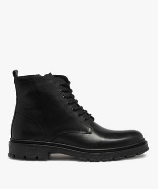 Boots homme dessus cuir uni et semelle crantée vue1 - GEMO(URBAIN) - GEMO