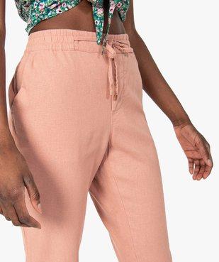 Pantalon femme en lin avec ceinture élastiquée vue2 - GEMO(FEMME PAP) - GEMO
