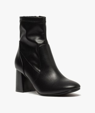 Boots femme unies à talon carré et col ajusté vue2 - GEMO(URBAIN) - GEMO