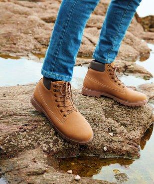 Boots homme à semelle crantée et lacets - Les Supaires à col contrastant et lacets bicolores vue6 - GEMO (CASUAL) - GEMO
