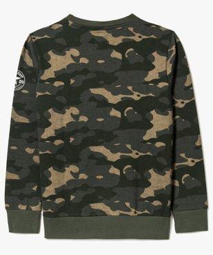 Sweat garçon à motifs camouflage avec empiècement bouclette - Kwell vue3 - KWELL - GEMO