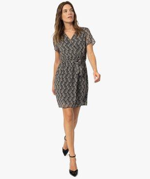 Robe femme imprimée à fines rayures pailletées vue5 - GEMO(FEMME PAP) - GEMO