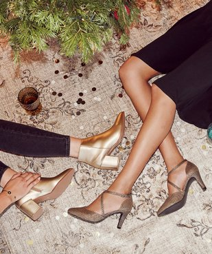 Boots femme à talon unis tige métallisée vue6 - Nikesneakers(URBAIN) - Nikesneakers