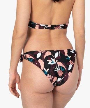 Bas de maillot de bain femme fleuri noué sur les côtés vue2 - GEMO (PLAGE) - GEMO