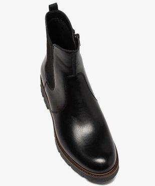 Boots fille style chelsea dessus cuir à semelle crantée vue5 - GEMO (ENFANT) - GEMO