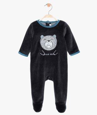 Pyjama bébé en velours doux imprimé ours animé vue2 - GEMO(BB COUCHE) - GEMO