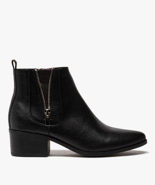 Boots femme à talon large avec zip décoratif vue1 - GEMO (CASUAL) - GEMO