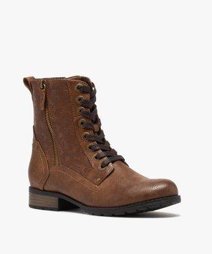 Boots femme zippées à talon plat et tige fantaisie vue2 - GEMO (CASUAL) - GEMO
