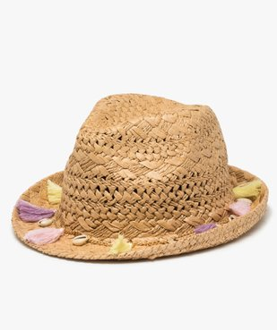 Chapeau fille forme fedora avec coquillages et pompons vue1 - Nikesneakers (JUNIOR) - Nikesneakers