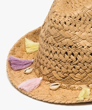 Chapeau fille forme fedora avec coquillages et pompons vue2 - Nikesneakers (JUNIOR) - Nikesneakers