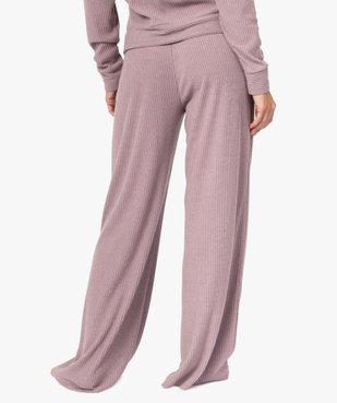 Bas de pyjama femme large en maille côtelée extra douce vue3 - GEMO(HOMWR FEM) - GEMO