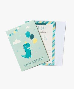 Cartes d'invitation anniversaire motif dinosaures vue1 - GEMO (ENFANT) - GEMO