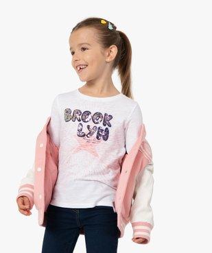 Tee-shirt fille à manches longues avec sequins brodés – Camps United vue1 - CAMPS UNITED - GEMO