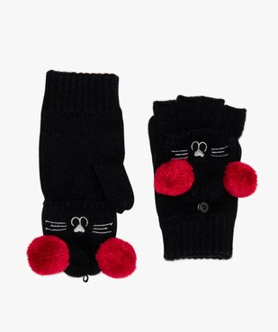 Moufles fille 2-en-1 à motif chat et pompons vue2 - Nikesneakers (ENFANT) - Nikesneakers