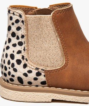 Bottines bébé fille à zip et élastique motif léopard vue6 - GEMO(BEBE DEBT) - GEMO