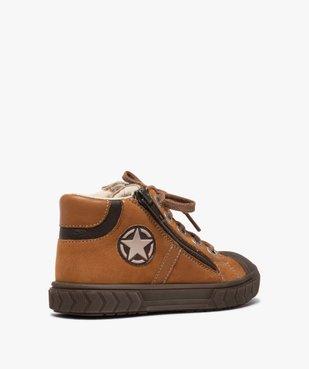 Boots garçon en cuir fermeture lacets et zip - Bopy vue4 - BOPY - GEMO