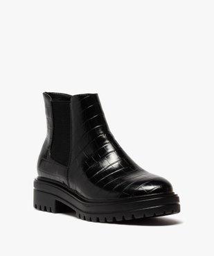 Boots femme unis à semelle crantée dessus imitation croco vue2 - GEMO (CASUAL) - GEMO