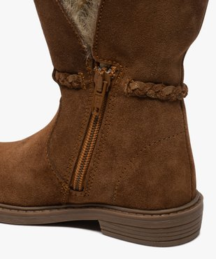 Boots fille zippées dessus cuir et col fourrure imitation vue6 - GEMO (ENFANT) - GEMO