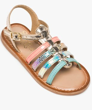 Sandales filles avec brides en cuir multicolores vue5 - GEMO (ENFANT) - GEMO